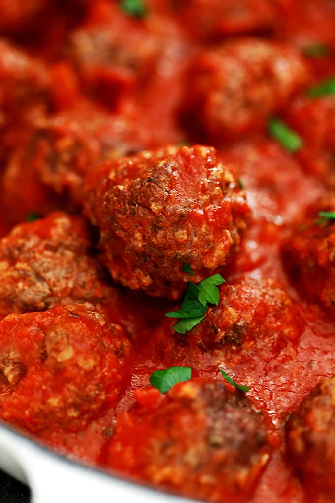 A close up view of an Easy Baked Meatball.