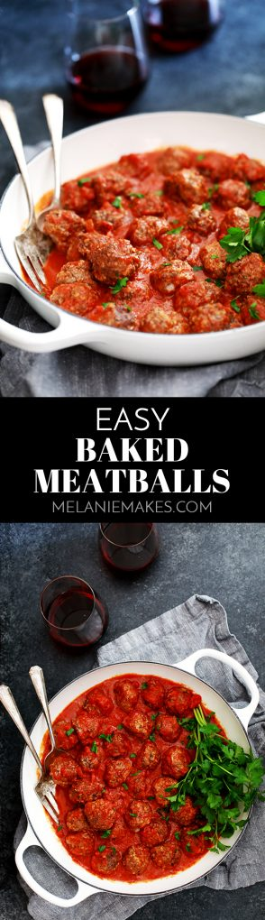 These Easy Baked Meatballs come together in just 10 minutes and then are baked to perfection in the oven. No oil splatters or manning a frying pan required! #easyrecipe #baked #meatballs #beef #pasta