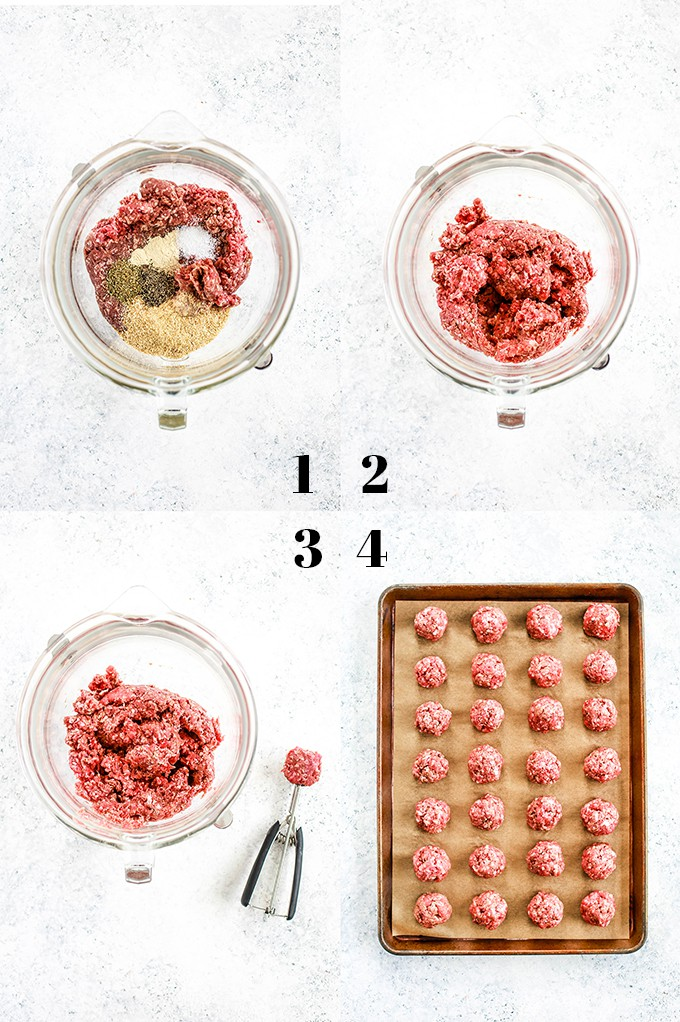 How to create Easy Baked Meatballs, steps 1-4.