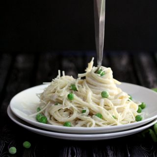 Fettuccine with Peas and Whiskey Cream Alfredo Sauce | Melanie Makes