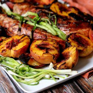 Honey Ginger Glazed Grilled Pork Tenderloin and Peaches | Melanie Makes