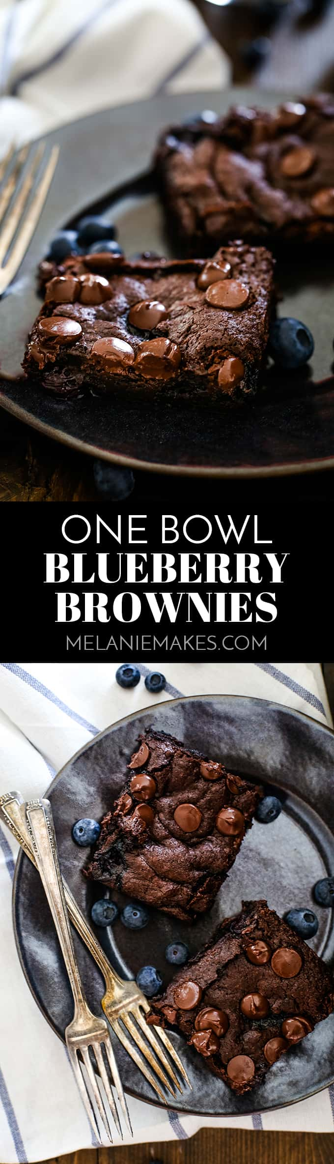A pint of blueberries is the secret to creating the most moist and decadent One Bowl Blueberry Brownies. Even blueberry haters love these brownies! #blueberry #brownies #chocolate #desserts #easyrecipe #onebowl