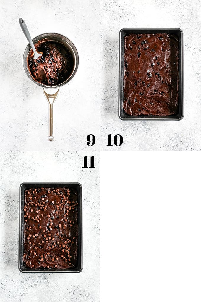 How to prepare One Bowl Blueberry Brownies, steps 9-11.