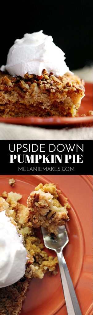 Forget the traditional and try something a bit different! This Upside Down Pumpkin Pie flips your traditional Thanksgiving dessert putting the pumpkin filling on the bottom and the crust-like crunch on top. The end result is anything but typical and one you'll ensure is on your holiday menu from here on out!