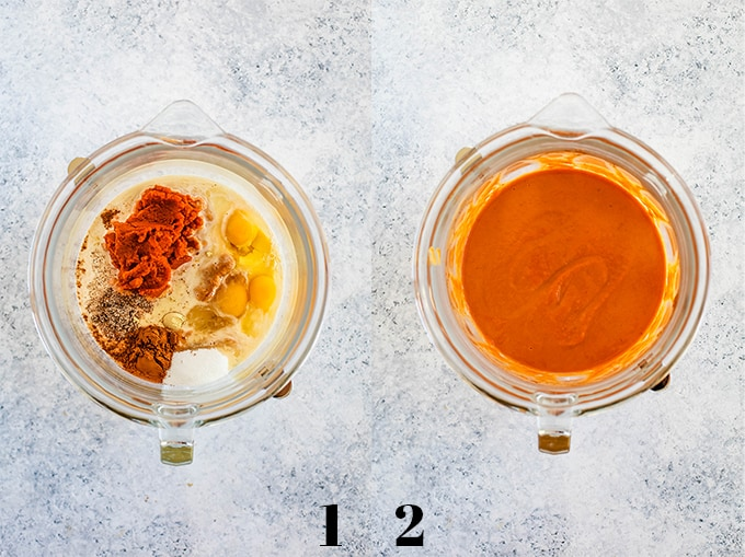 The first two steps of creating Upside Down Pumpkin Pie on a white speckled background.