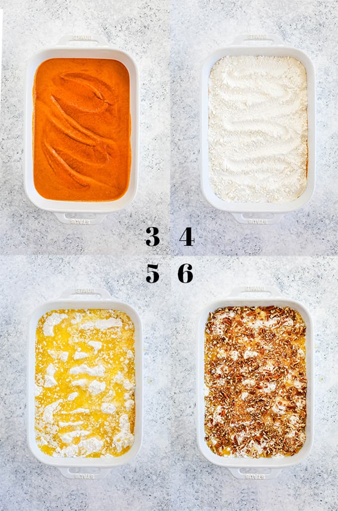 The last four steps in how to create Upside Down Pumpkin Pie on a white speckled background.