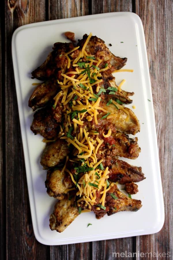 Chili Cheese Chicken Wings | Melanie Makes