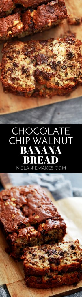 Not one, not two, not three, but FOUR bananas are packed into a single loaf of this Chocolate Chip Walnut Banana Bread. A bread absolutely bedazzled with chocolate chips and walnuts. In other words, I dare you to not fall in love with it upon first bite! #banana #bananabread #walnut #chocolate #chocolatechip #bread #breakfast