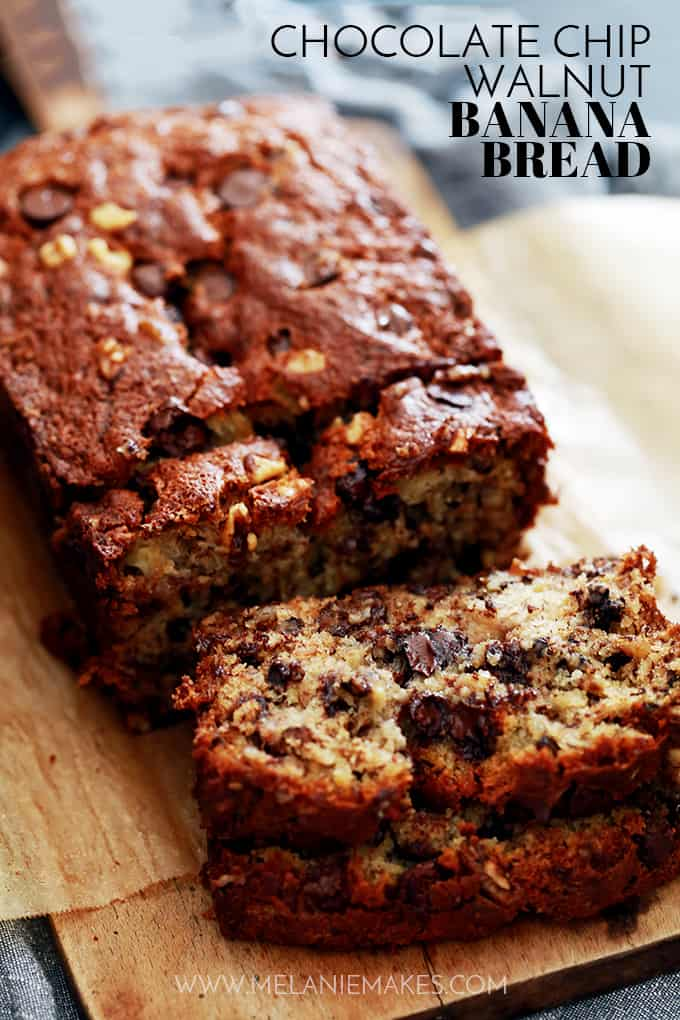 Not one, not two, not three, but FOUR bananas are packed into a single loaf of this Chocolate Chip Walnut Banana Bread. A bread absolutely bedazzled with chocolate chips and walnuts. In other words, I dare you to not fall in love with it upon first bite!