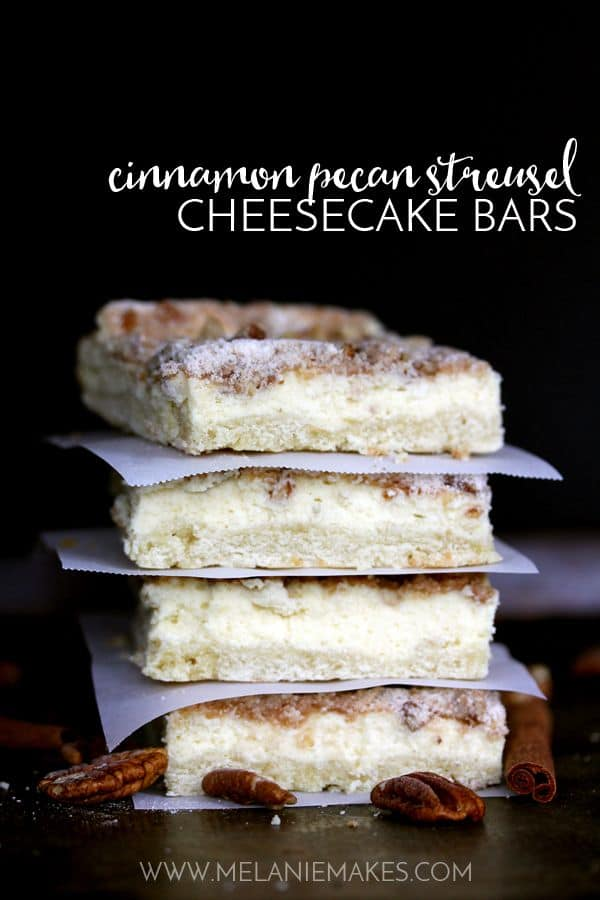 A creamy cheesecake filling is sandwiched between a sugar cookie base and a cinnamon pecan streusel.  These Cinnamon Pecan Streusel Cheesecake Bars are like two desserts in one but with only 15 minutes of effort required.