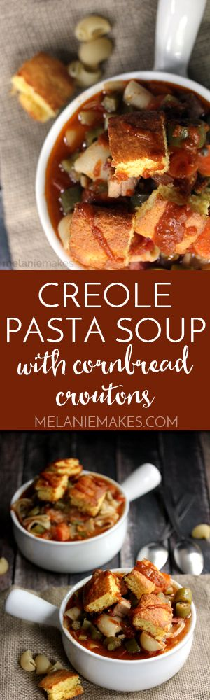 A spicy tomato based broth surrounds browned chicken, smoked sausage, pasta and a plethora of vegetables in this Creole Pasta Soup. Topped with oversized cornbread croutons, this soup is sure to warm you inside and out!