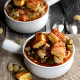 Creole Pasta Soup with Cornbread Croutons | Melanie Makes