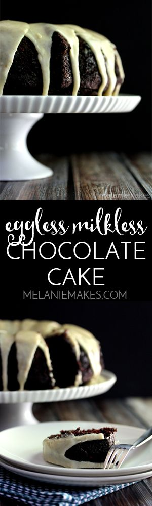 The perfect rich, dark chocolate cake for any day or any celebration. This cake contains no milk or eggs yet is absolutely decadent, especially when topped with a delicious caramel frosting. This Eggless Milkless Chocolate Cake with Caramel Frosting is one not to be missed!