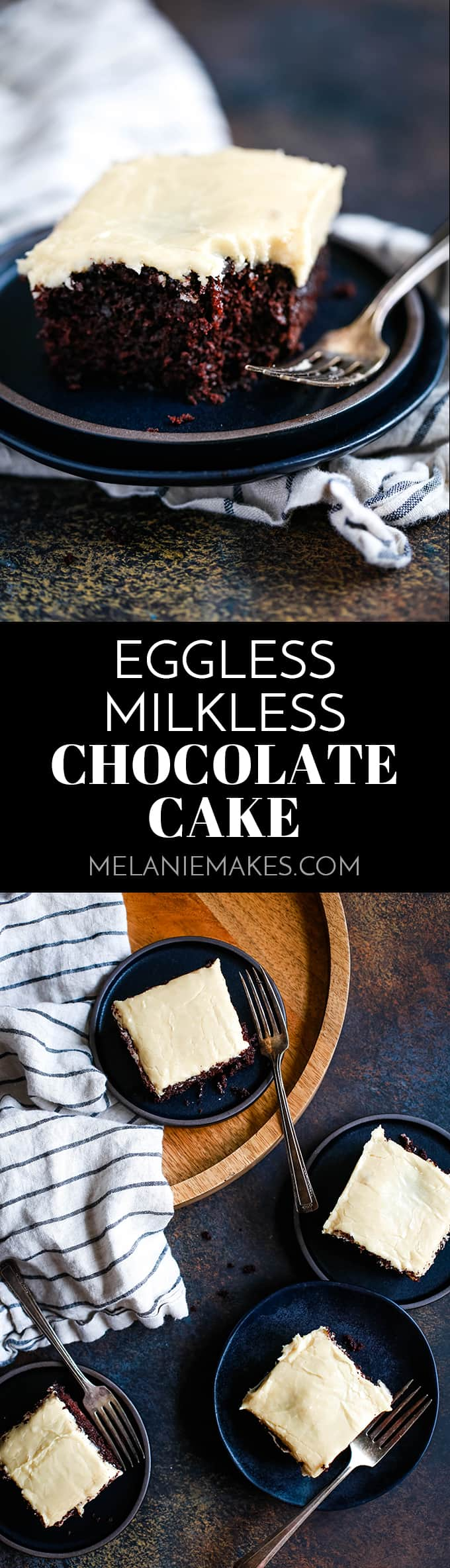 ThisEggless Milkless Chocolate Cake contains no milk or eggs yet is absolutely decadent. Perfect for any day or celebration and for those with allergies. #chocolate #chocolatecake #cake #eggless #dairyfree #easyrecipe