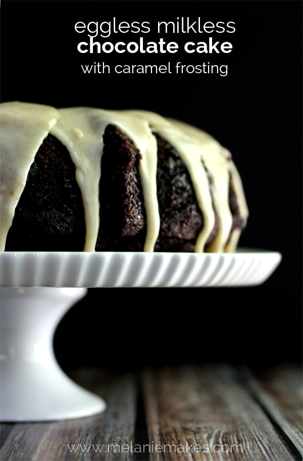 Eggless Milkless Chocolate Cake with Caramel Frosting | Melanie Makes
