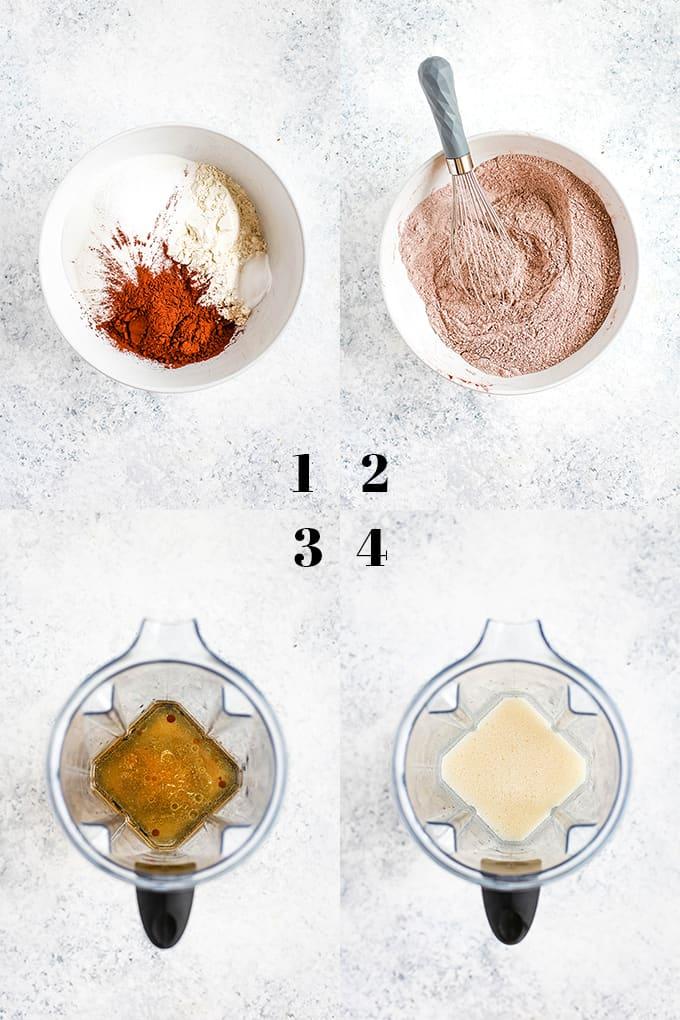 How to prepare Eggless Milkless Chocolate Cake, steps 1-4.