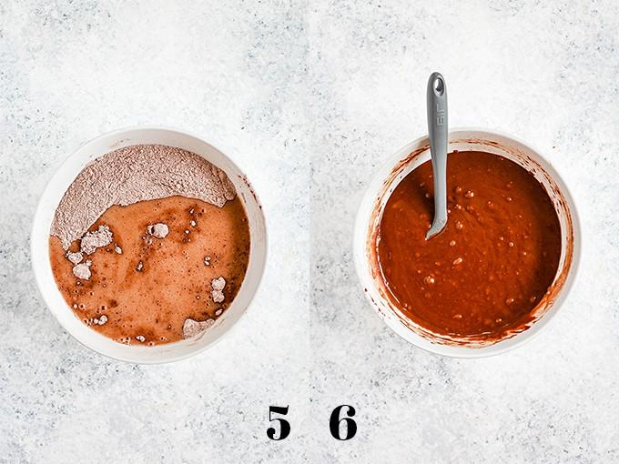 How to prepare Eggless Milkless Chocolate Cake, steps 5-6.