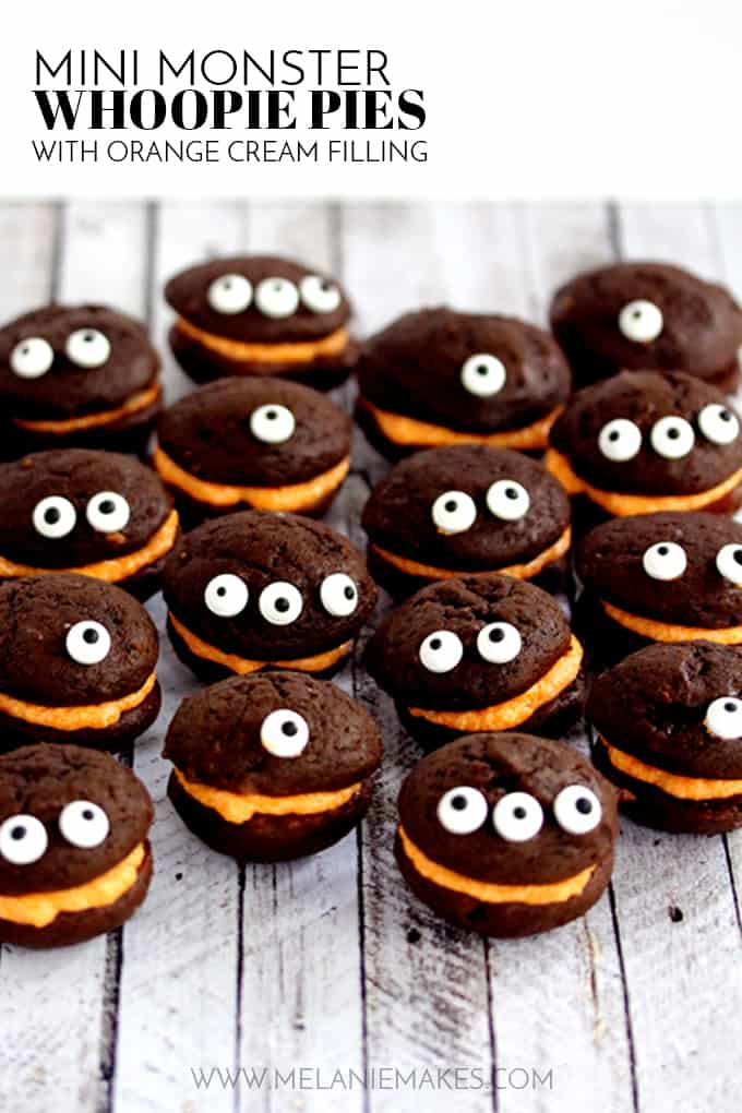 These Mini Monster Chocolate Whoopie Pies with Orange Cream Filling couldn't be easier to create and are the perfect Halloween classroom party or get together treat!  No one would ever guess that the secret ingredient for both the cake and frosting for this recipe is milk!