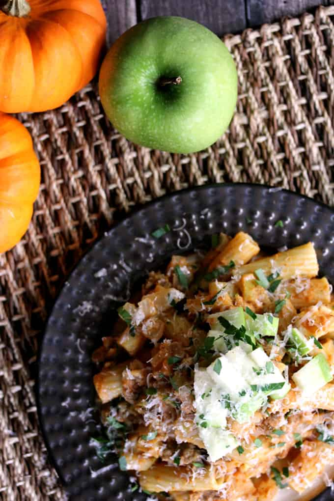 Pumpkin Pasta with Sausage and Apples
