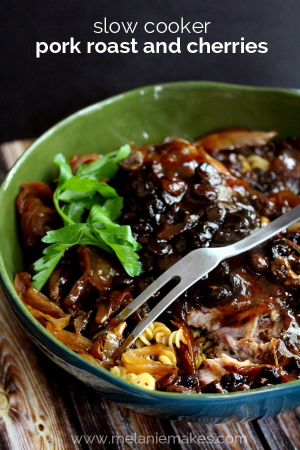 A pork roast seasoned with thyme and bathed in apple juice and nestled into a slow cooker surrounded by sliced onions and dried cherries. A perfect minimal prep, full of flavor dish, this Slow Cooker Pork Roast and Cherries will make your house smell absolutely divine all day as it cooks.