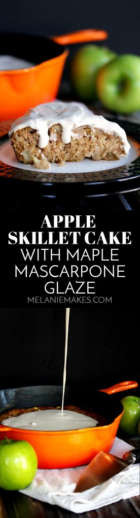 This Apple Skillet Cake with Maple Mascarpone Glaze is full of autumn flavors yet couldn't be easier to create.  Forget the mountain of dishes and instead turn to a dessert prepared and baked in just one skillet.  The maple and cinnamon spiked glaze insures that it's a dessert you won't soon forget.