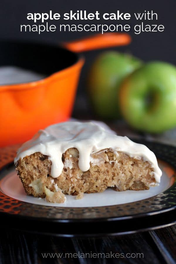 Forget the mountain of dishes and instead turn to a dessert prepared and baked in just one skillet. This Apple Skillet Cake with Maple Mascarpone Glaze is full of Fall flavors yet couldn't be easier to create. The maple and cinnamon spiked glaze insures that it's a dessert you won't soon forget.