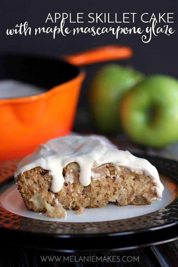 Apple Skillet Cake with Maple Mascarpone Glaze | Melanie Makes
