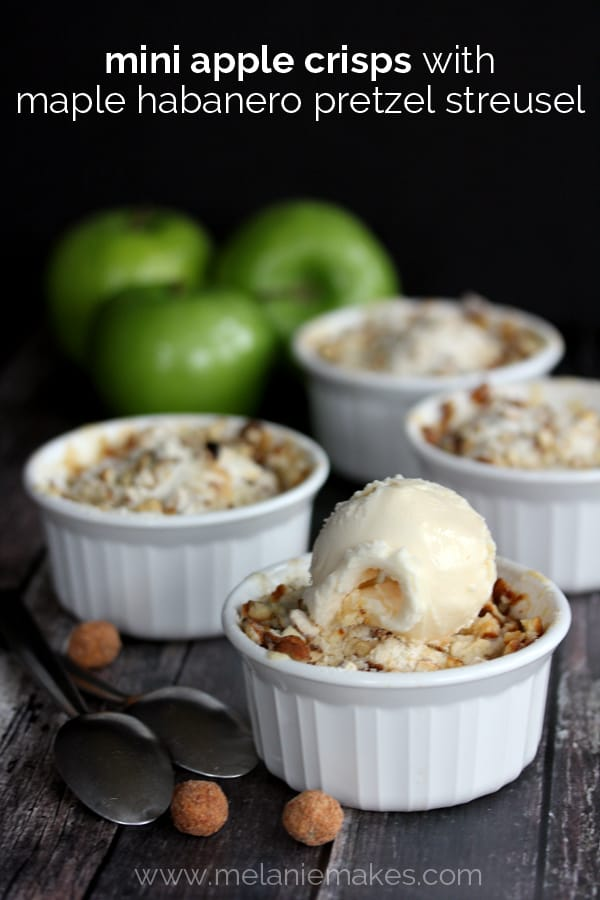 Mini Apple Crisps with Maple Habanero Pretzel Streusel | Melanie Makes