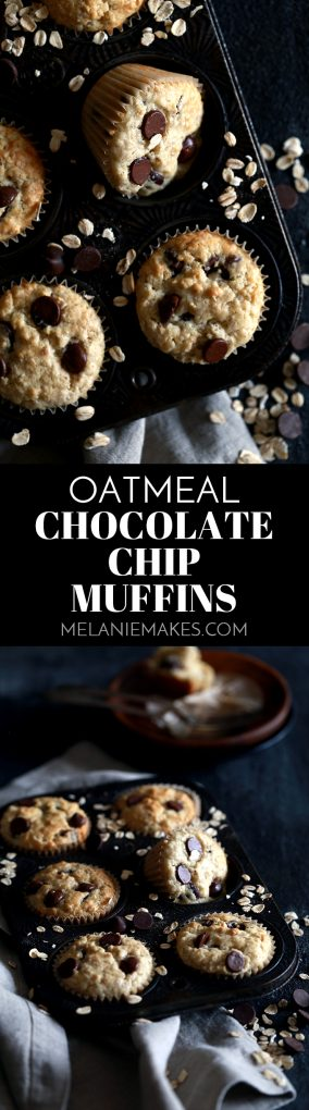 These four ingredient Oatmeal Chocolate Chip Muffins are so incredibly easy that they take just five minutes to prepare.  A homemade oatmeal muffin mix, milk, egg and chocolate chips are stirred together and then magically transform into baked good deliciousness, emerging from the oven studded with melty chocolate chips. #oatmeal #chocolate #muffins #breakfast #brunch #easyrecipe