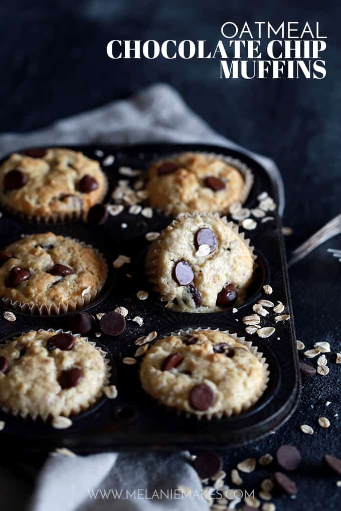 A muffin pan of Oatmeal Chocolate Chip Muffins.