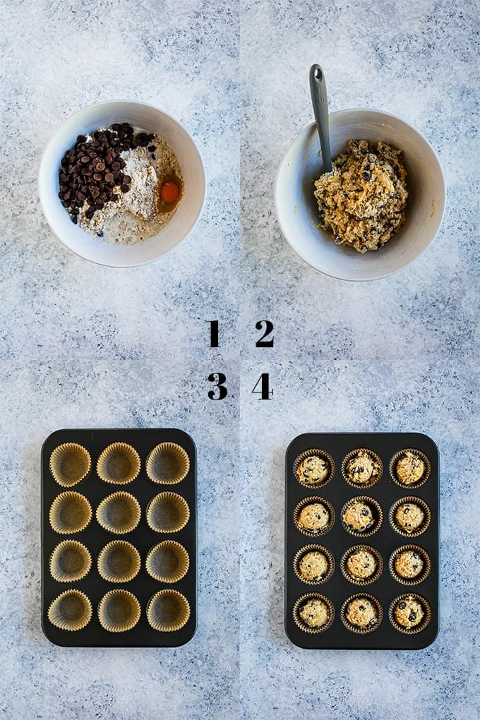 How to create Oatmeal Chocolate Chip Muffins, steps 1-4.