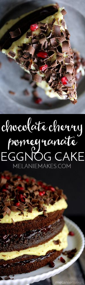 This Chocolate Cherry Pomegranate Eggnog Cake is not only easy on the eyes, but beyond easy to put together. Just five ingredients and the help of a few shortcuts will have this cake gracing your Christmas table in no time!