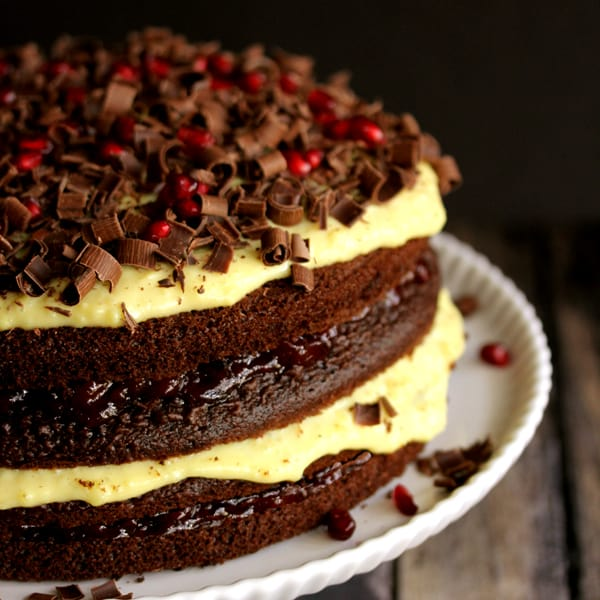 Chocolate Cherry Pomegranate Eggnog Cake | Melanie Makes