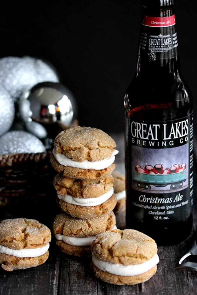 Ginger Cookie Sandwiches with Christmas Ale Buttercream | Melanie Makes