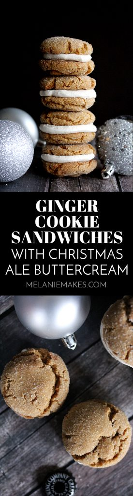 These Ginger Cookie Sandwiches with Christmas Ale Buttercream are the standout star of your Christmas cookie exchange.   All of the spices of the holiday season in a spiked whipped buttercream filling sandwiched between two soft and chewy ginger cookies.