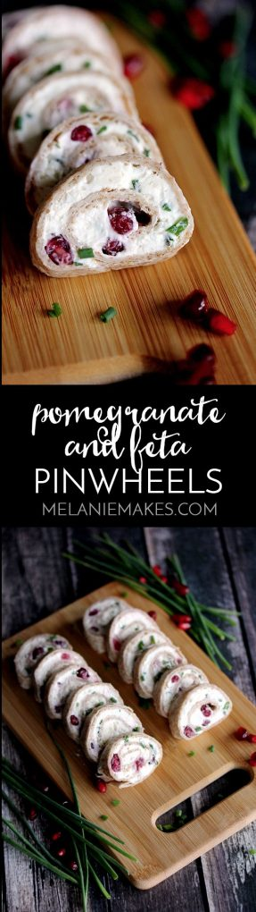 These gorgeous Pomegranate and Feta Pinwheels take just minutes to prepare and are speckled with holiday color thanks to pomegrante arils and chives. These five ingredient appetizers will have you party ready in no time!