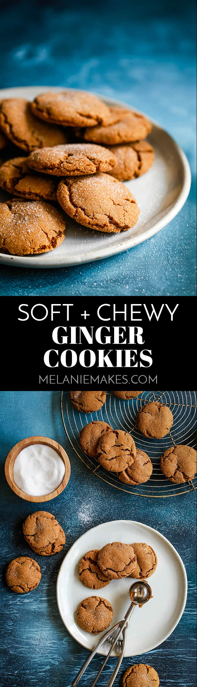 These Soft and Chewy Ginger Cookies melt have a melt in your mouth texture, while rolling them in sugar prior to baking gives them their specialty sparkle. #gingercookies #cookies #ginger #cookierecipes #christmas #christmascookies #soft