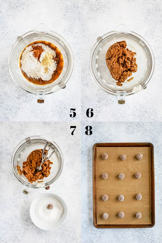 Step by step photos of how to create Soft and Chewy Ginger Cookies on a white speckled background, steps 5-8.