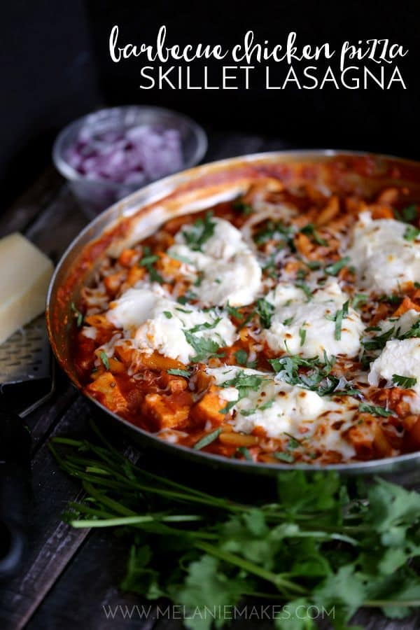 This Barbecue Chicken Pizza Skillet Lasagna is sure to win a frequent spot on your menu plan. Diced barbecued chicken breast, red onions and cilantro are married with pasta, ricotta and mozzarella cheeses to create an amazingly flavorful one dish meal that's ready in just 30 minutes.