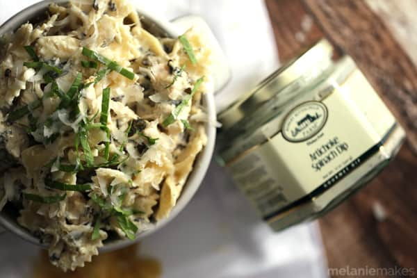 This three ingredient Quick and Easy Chicken Artichoke Spinach Pasta transforms one of your favorite appetizers into a showstopping main course. Artichokes and spinach are blended with the distinct flavor of Romano cheese and then stirred into al dente pasta and chicken to create a delicious and effortless pasta dish.