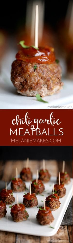 Easy oven baked meatballs are spiked with garlic, ginger and cilantro before being adorned with an amazingly flavorful chili garlic sauce. These Chili Garlic Meatballs are the perfect appetizer for game day, a holiday or any day of the week!