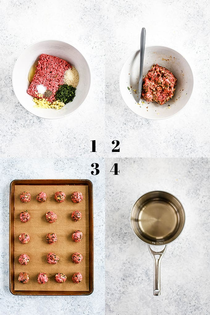 Step by step photos of how to create Chili Garlic Meatballs, steps 1-4.
