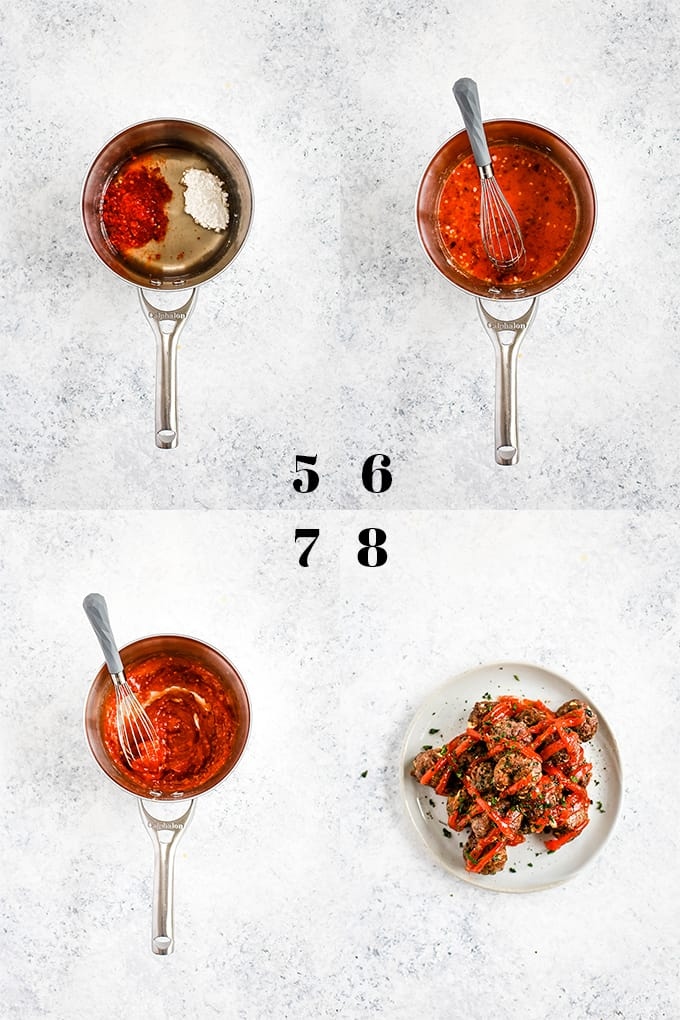 Step by step photos of how to create Chili Garlic Meatballs, steps 5-8.