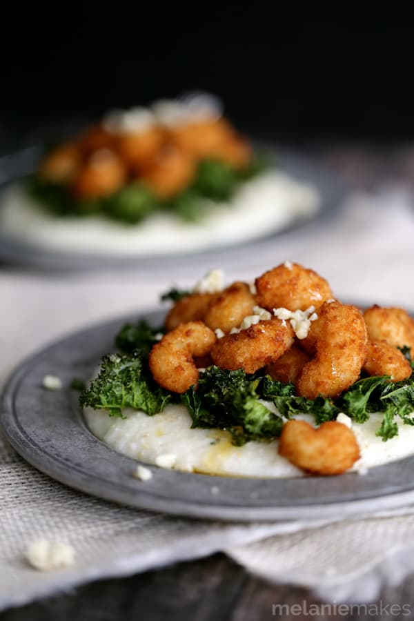 Honeyed Shrimp with Crispy Kale and Gorgonzola Grits | Honeyed Shrimp with Crispy Kale and Crispy Kale @honeyed Shrimp with Crispy Kale and Gorgonzola Gritss
