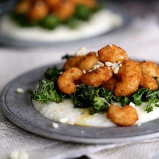 Honeyed Shrimp with Crispy Kale and Gorgonzola Grits | Honeyed Shrimp with Crispy Kale and Crispy Kale @honeyed Shrimp with Crispy Kale and Gorgonzola Gritss