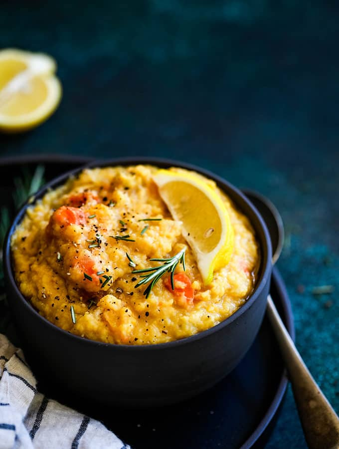 Slow Cooker Lemon Rosemary Lentil Soup