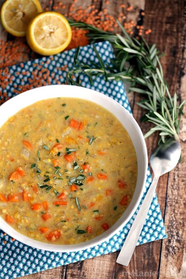 Slow Cooker Lemon Rosemary Lentil Soup   Melanie Makes