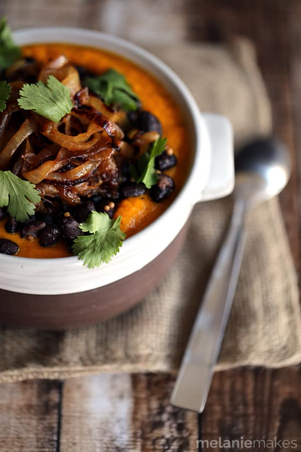Southwest Carrot and Black Bean Soup | Melanie Makes
