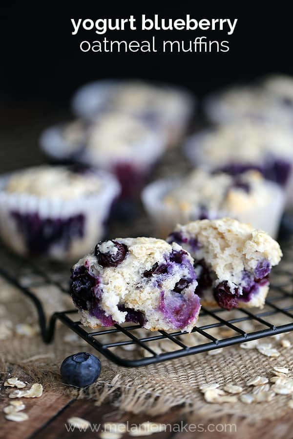 Yogurt Blueberry Oatmeal Muffins | Melanie Makes