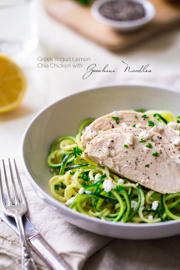 Lemon Chia Chicken Zucchini Noodles | Food Faith Fitness for Melanie Makes